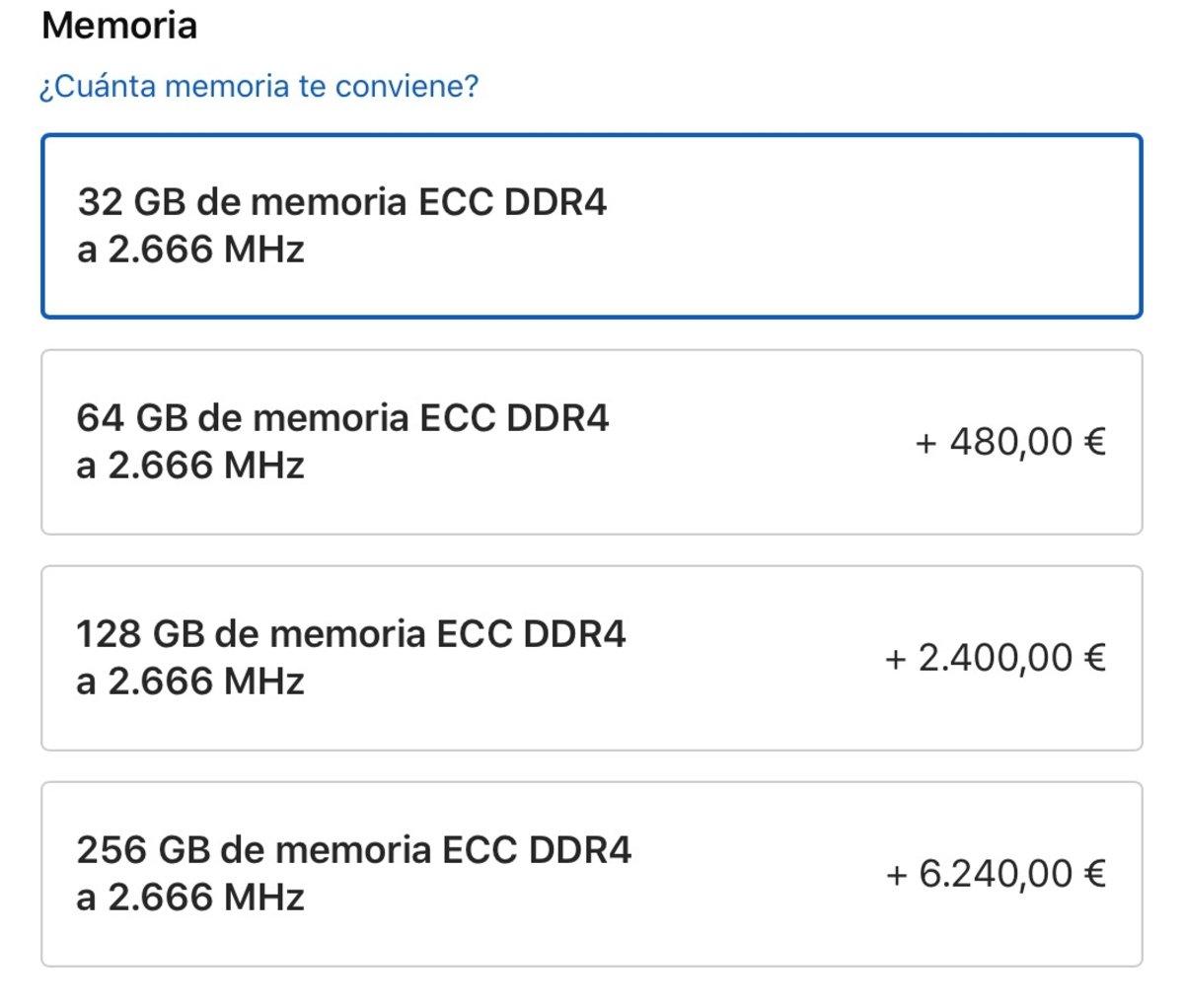 Por solo 6.240 euros extra puedes tener 256 GB de RAM en el nuevo iMac Pro