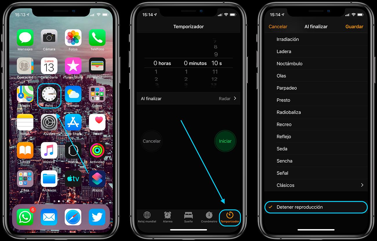 temporizador musica iphone