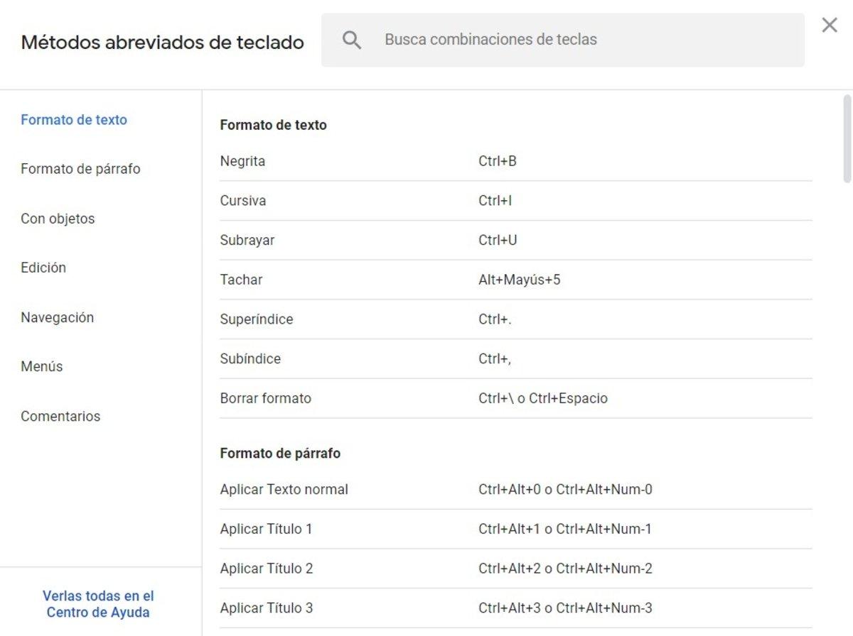 Atajos en Google Docs