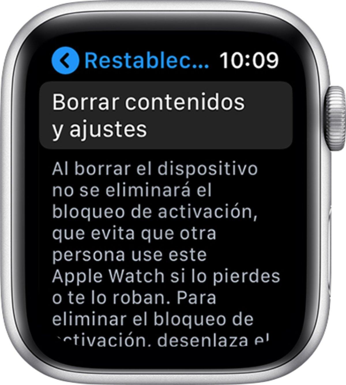 Apple Watch borrar contenidos y ajustes