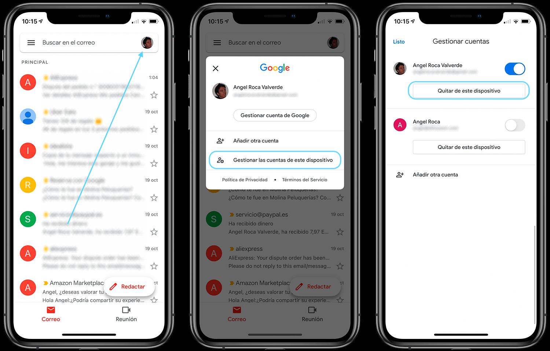 Eliminar cuenta de la app gmail