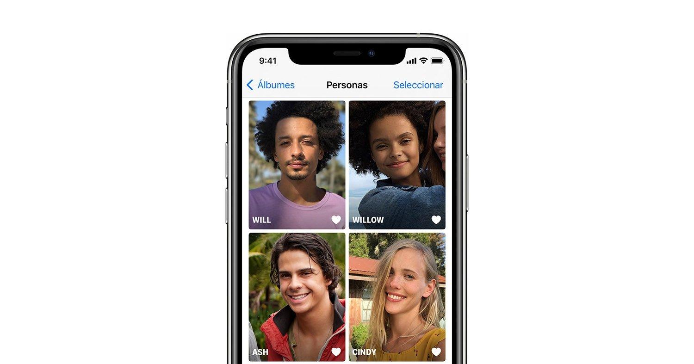 personas en la app fotos del iphone