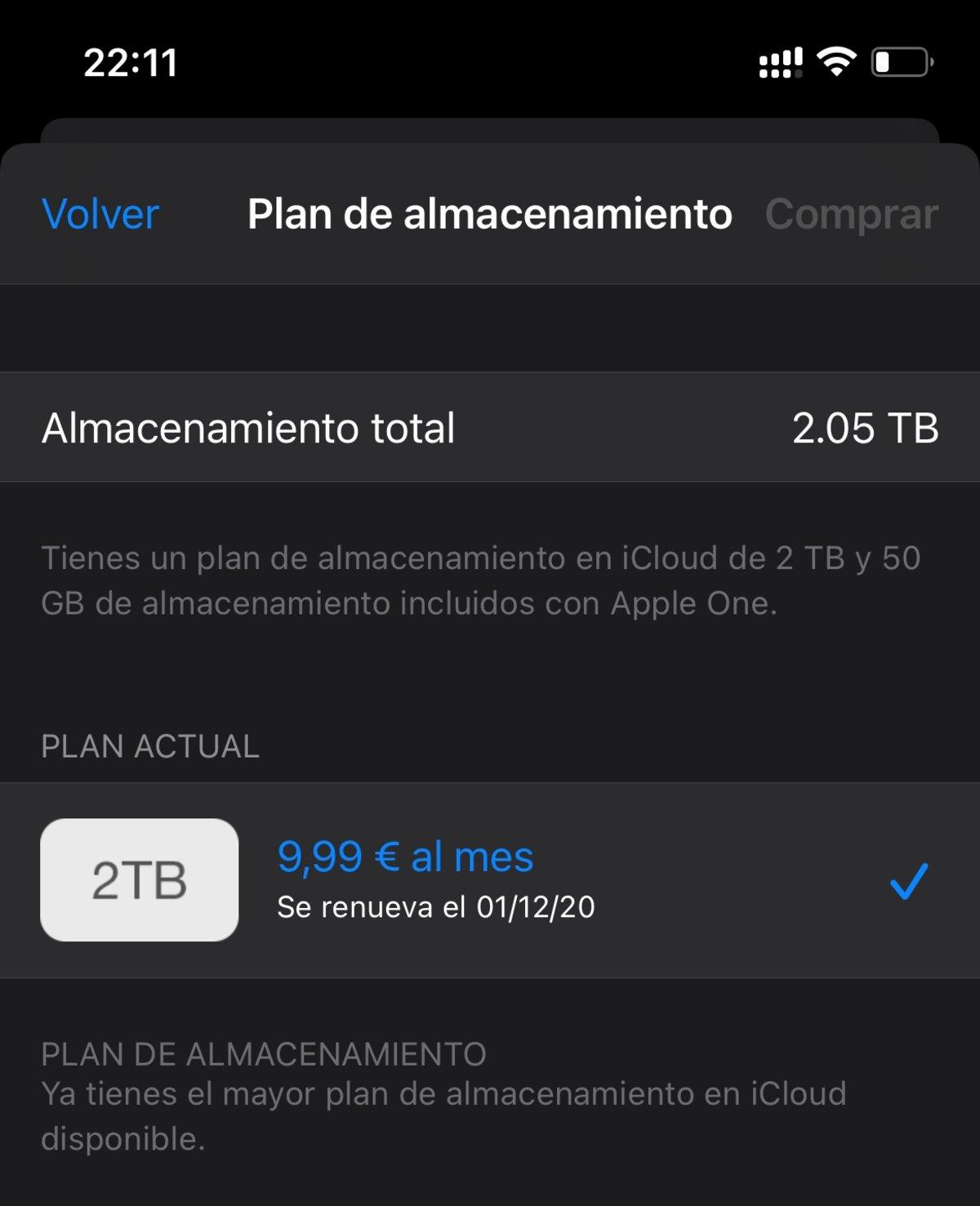 Almacenamiento en iCloud de 2TB