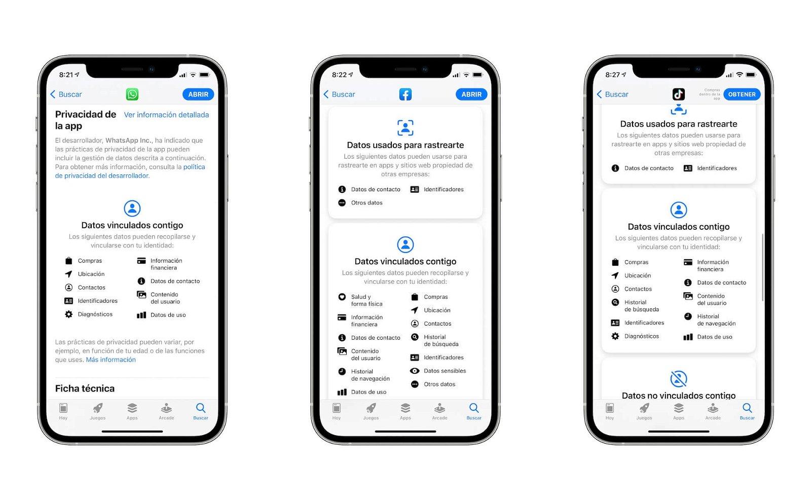 Etiquetas privacidad App Store