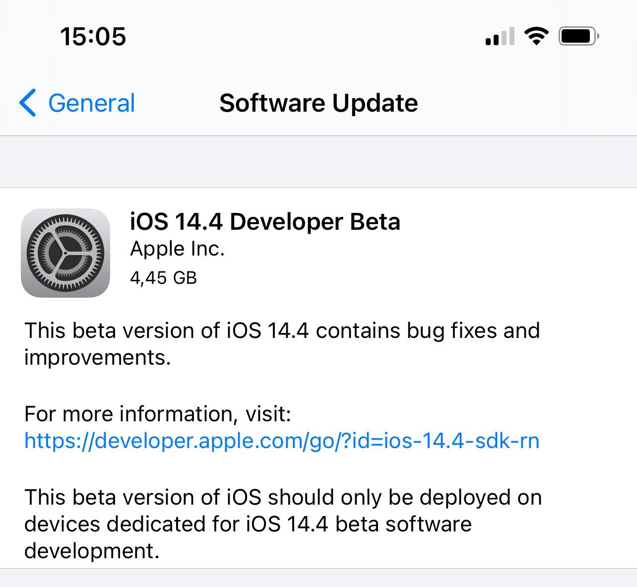 Primera beta de iOS 14.4