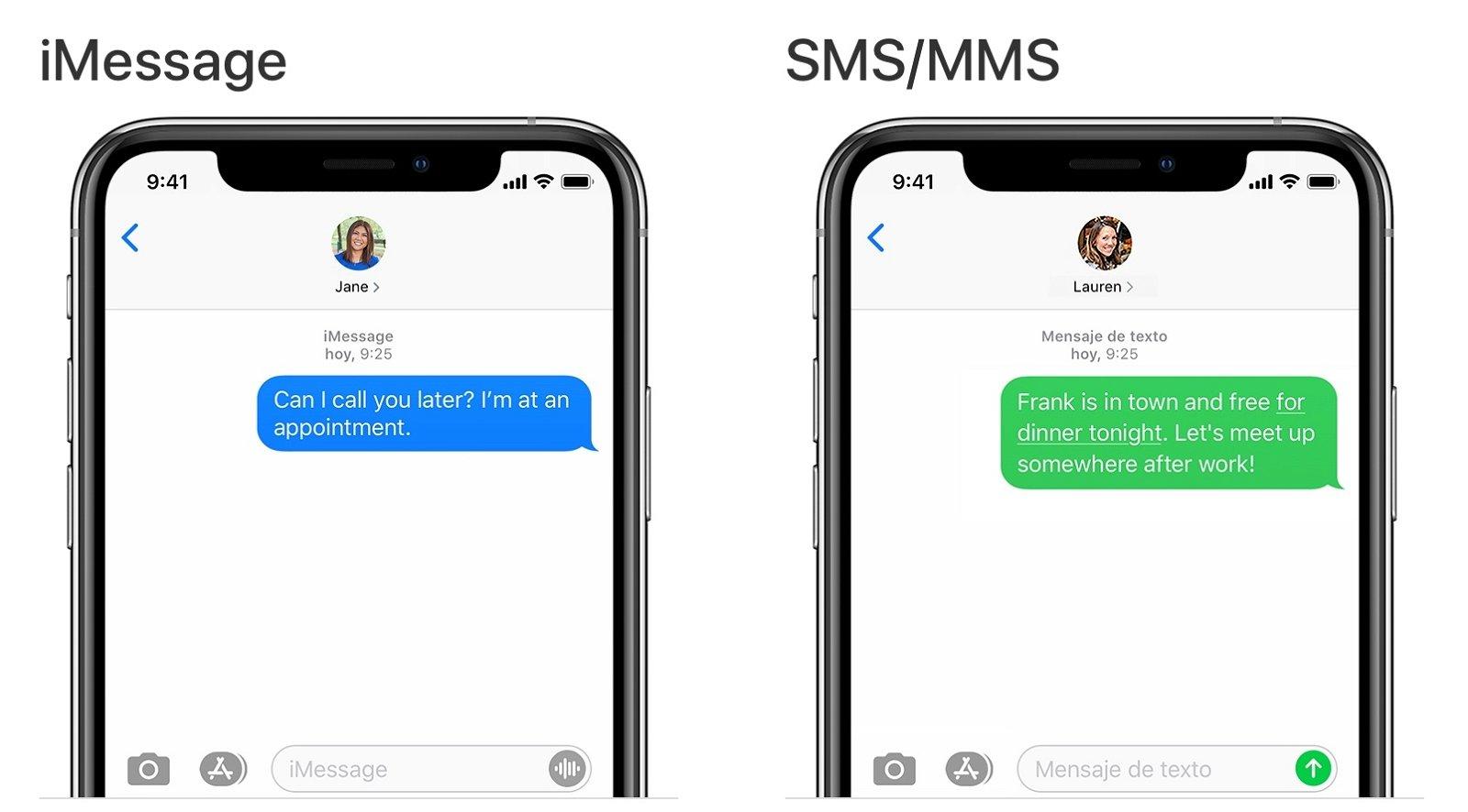iMessage vs mensajes