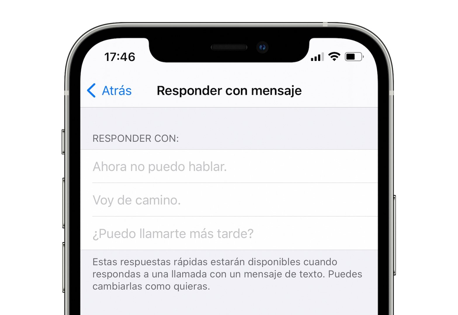 respuestas personalizadas en el iphone
