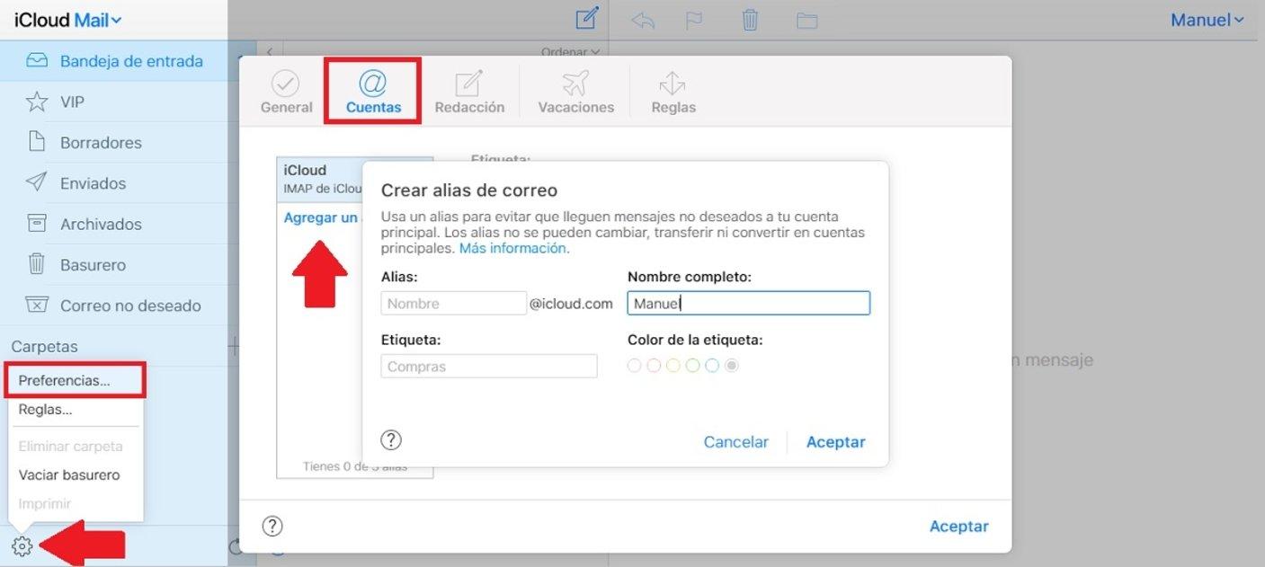pasos para crear alias de tu correo en iCloud