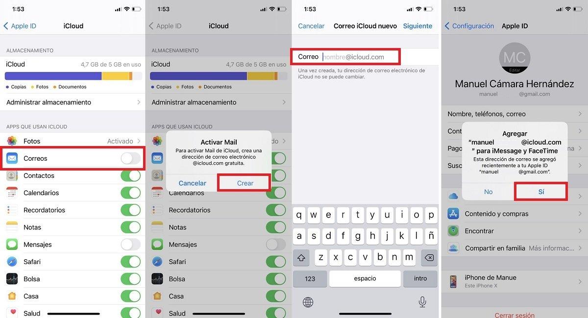 Como crear correo iCloud desde el iPhone