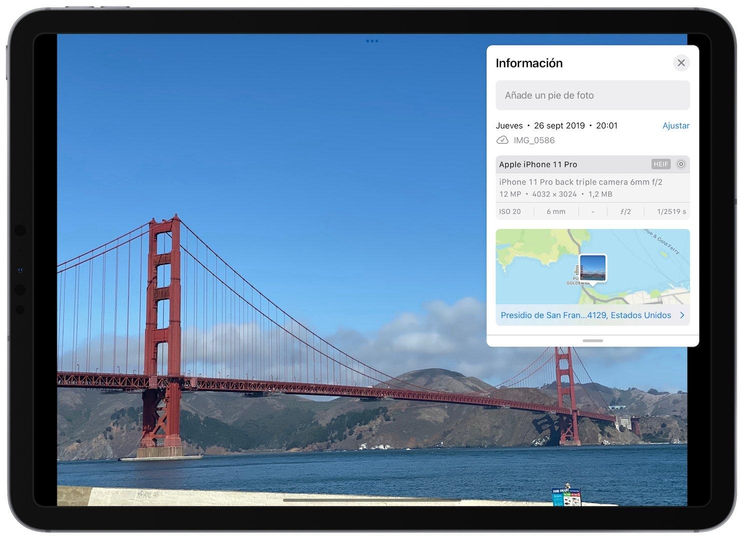 Datos EXIF en iOS y iPadOS 15