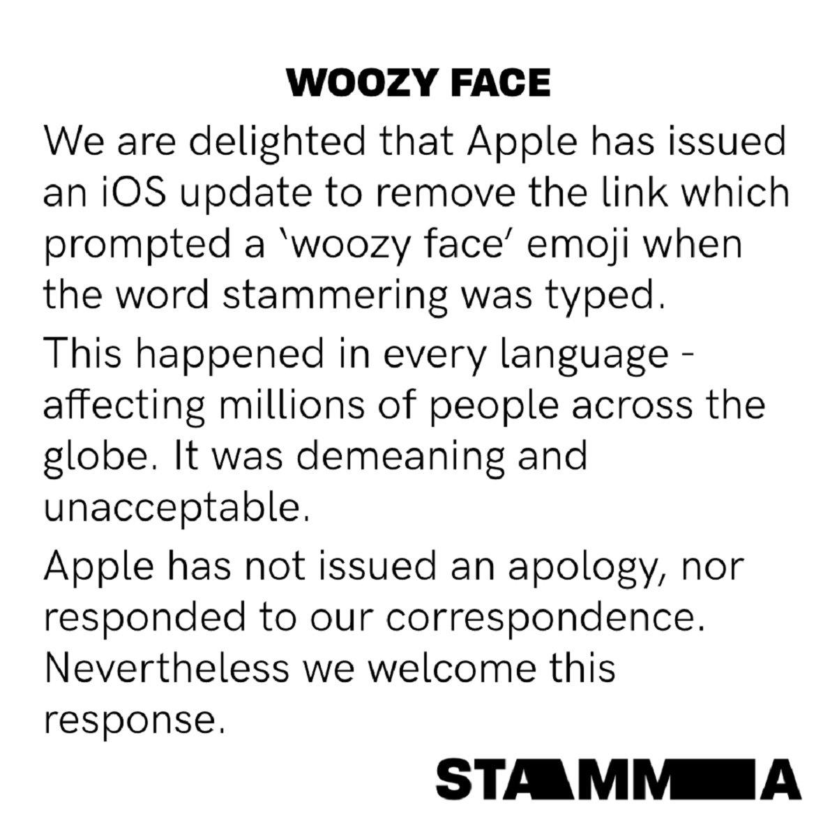 Comunicado de Stamma para Apple