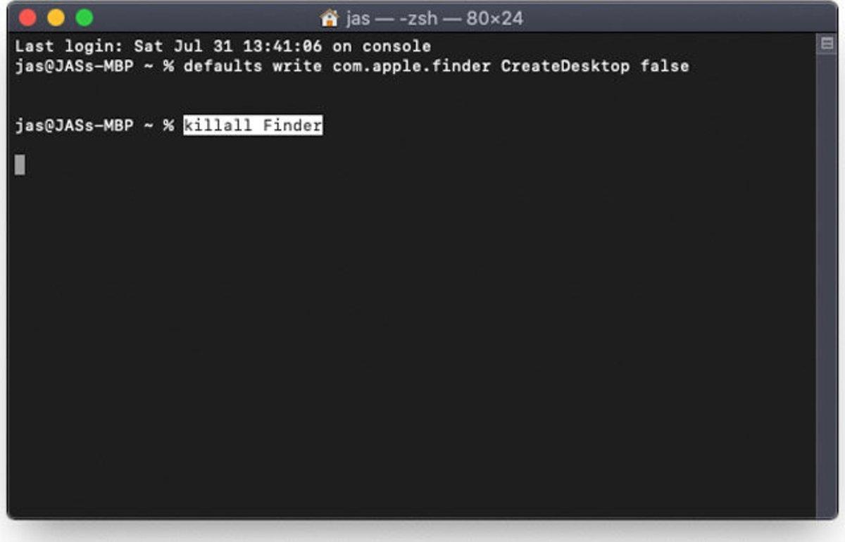 Terminal de Mac con comando para eliminar iconos