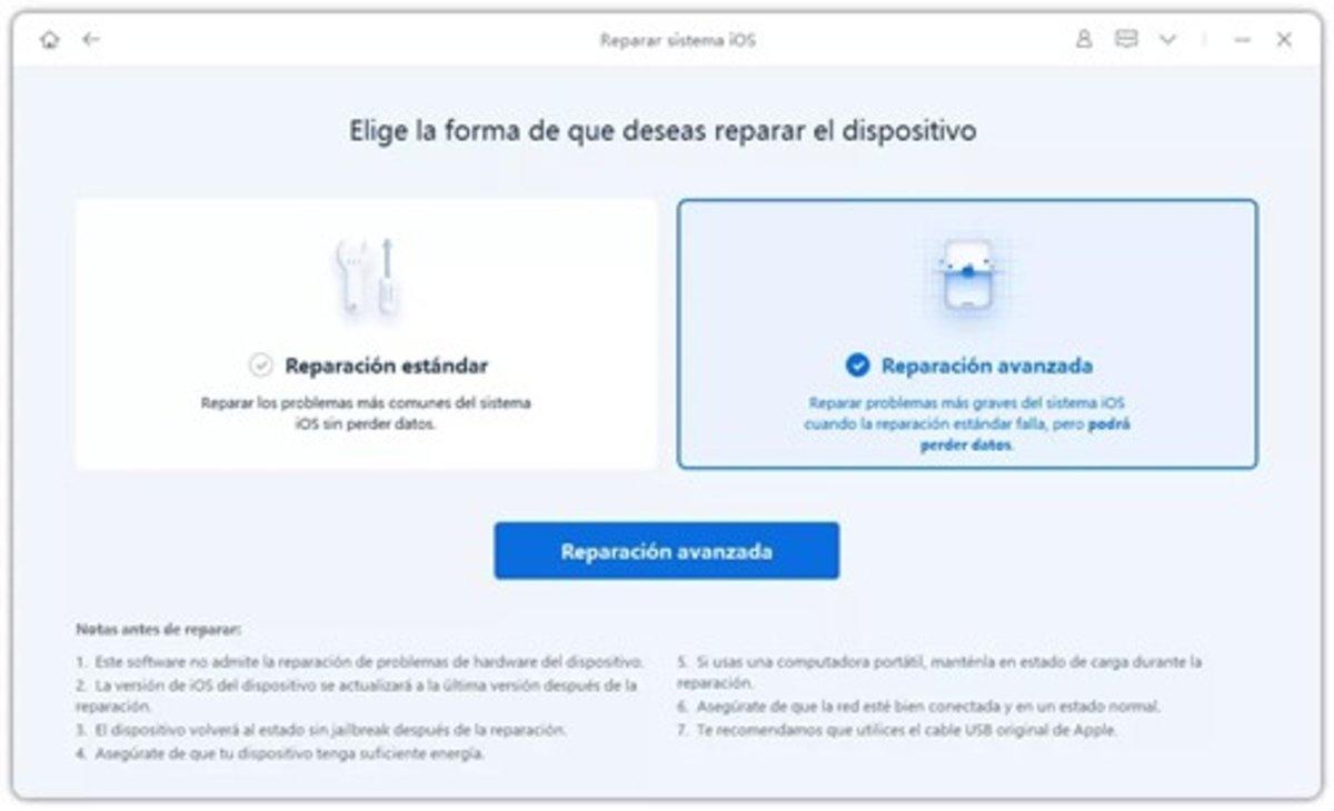 ReiBoot reparación estándar o avanzada de tu iPhone