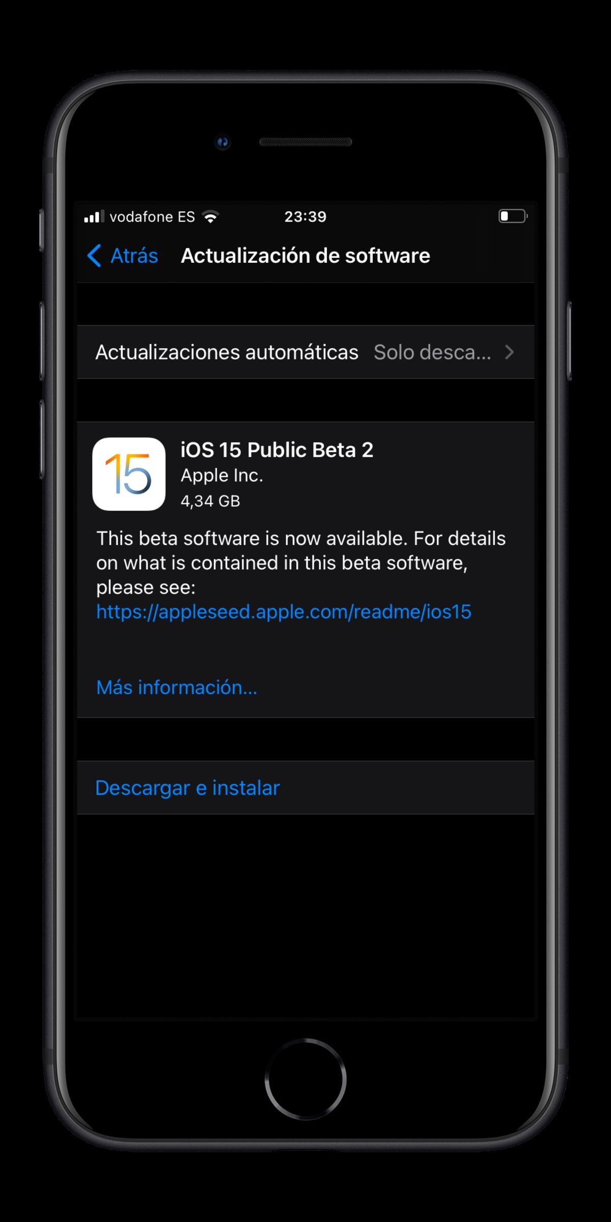 Instalar beta pública de iOS 15 en iPhone o iPod touch