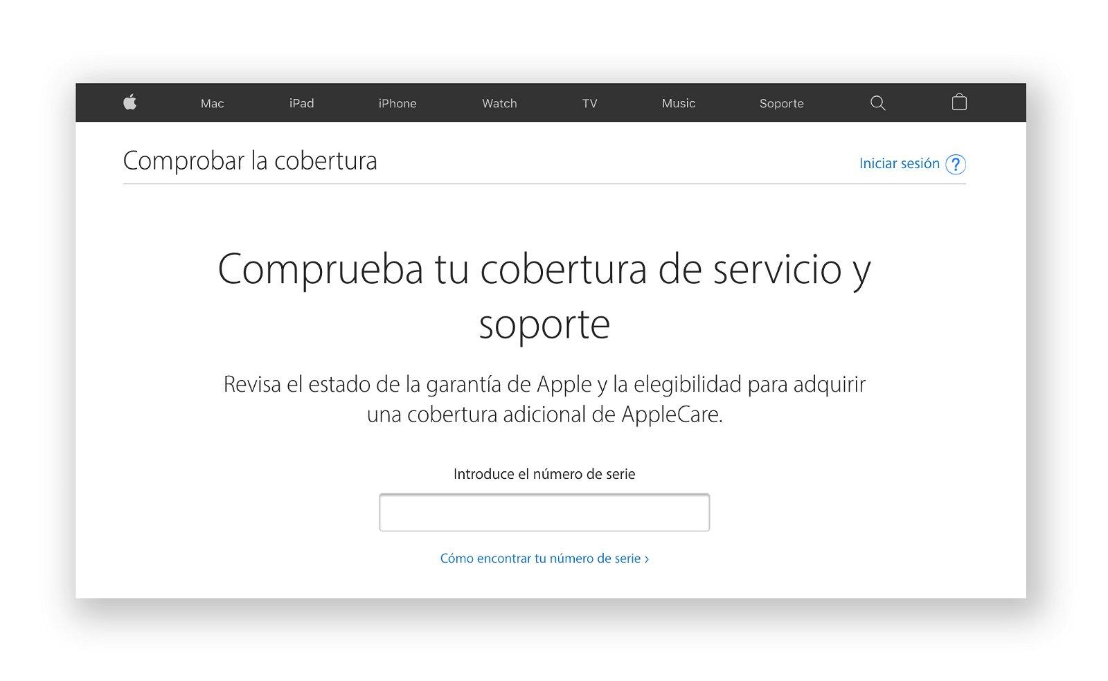 Página web para la comprobación de la cobertura y el soporte del os dispositivos Apple