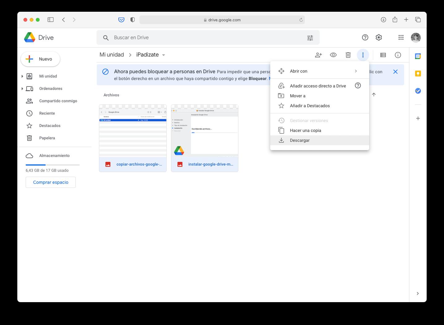 Descargar archivos de Google Drive desde el navegador