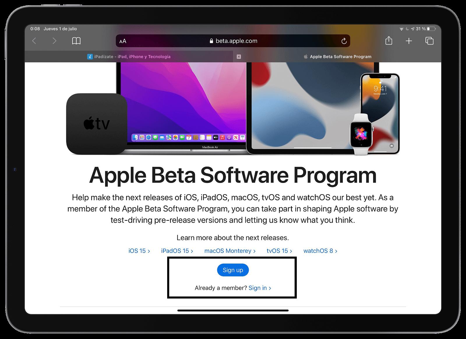 Descargar perfil para instalar la beta pública de iOS 15