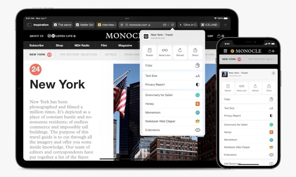 Extensiones en iPad y iPhone Safari 15