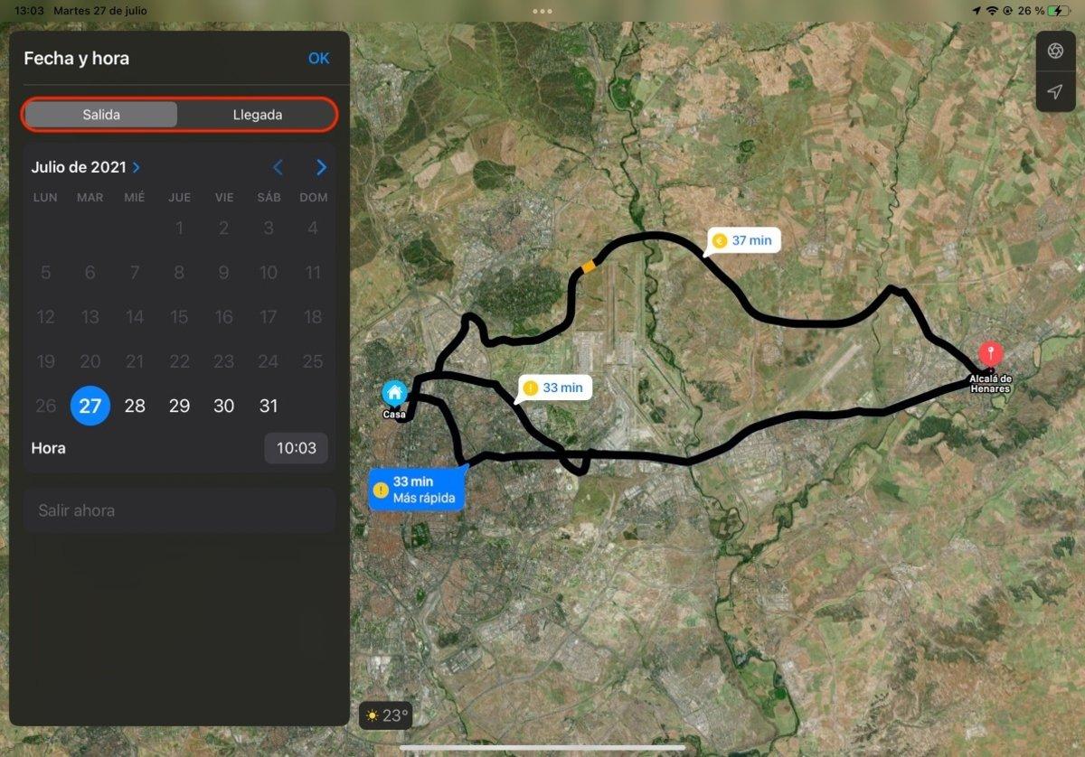 Salida y llegada Mapa de Apple en iPadOS 15