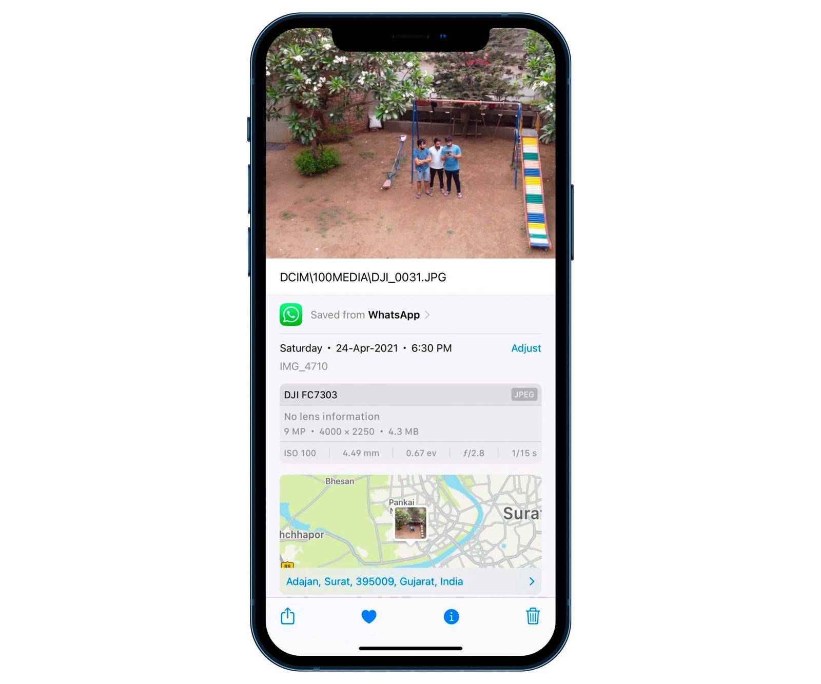 datos exif iOS 15