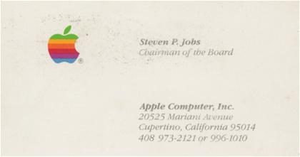 Venden antiguas tarjetas de visita de Steve Jobs por 13.000 dólares la unidad