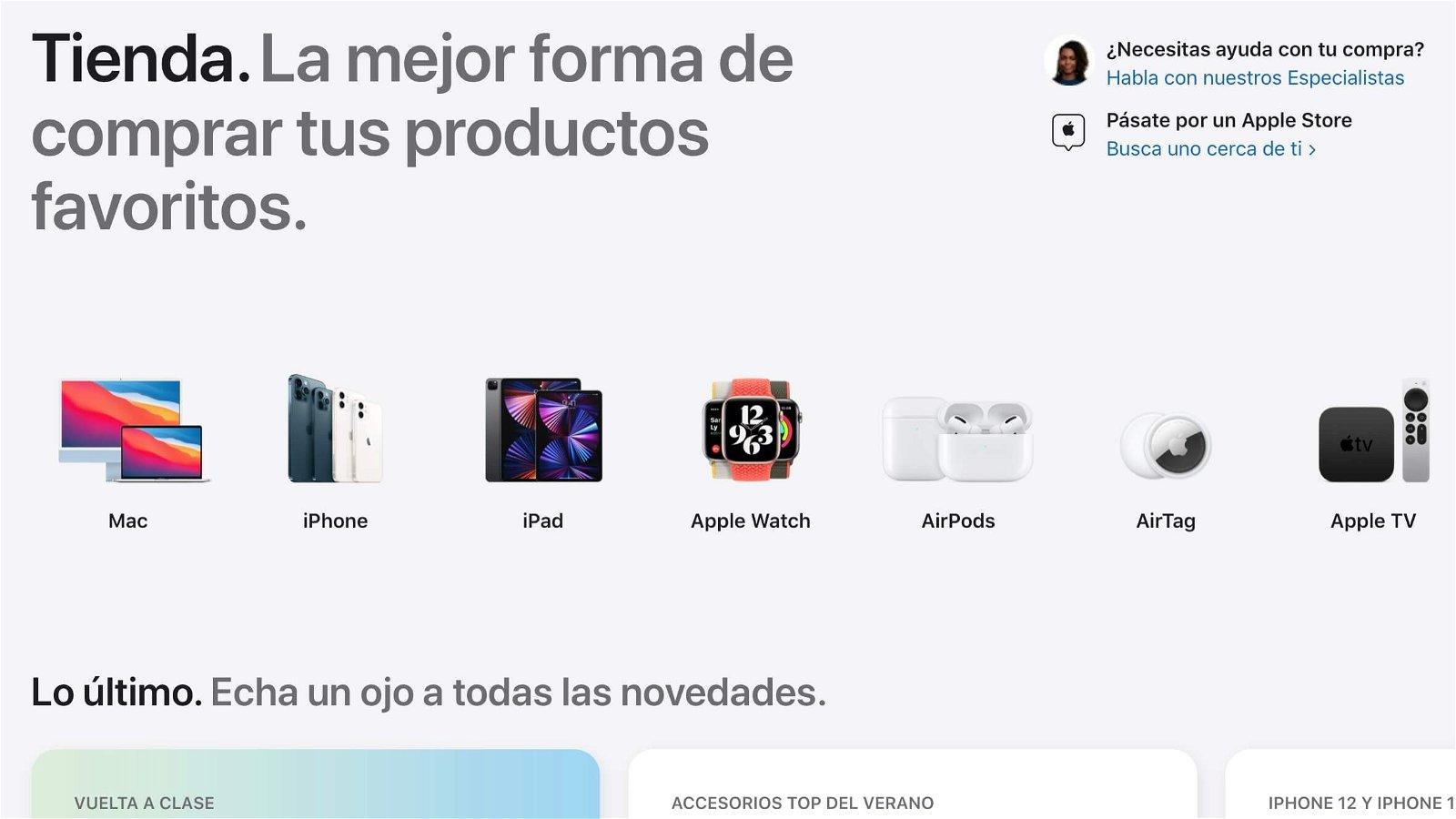 Nuevo diseño de la Apple Store Online