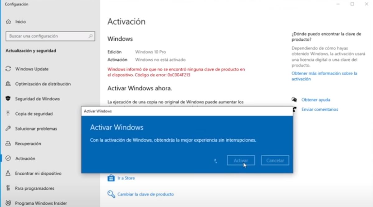 Activación de Windows 10 Pro de cdkeylord
