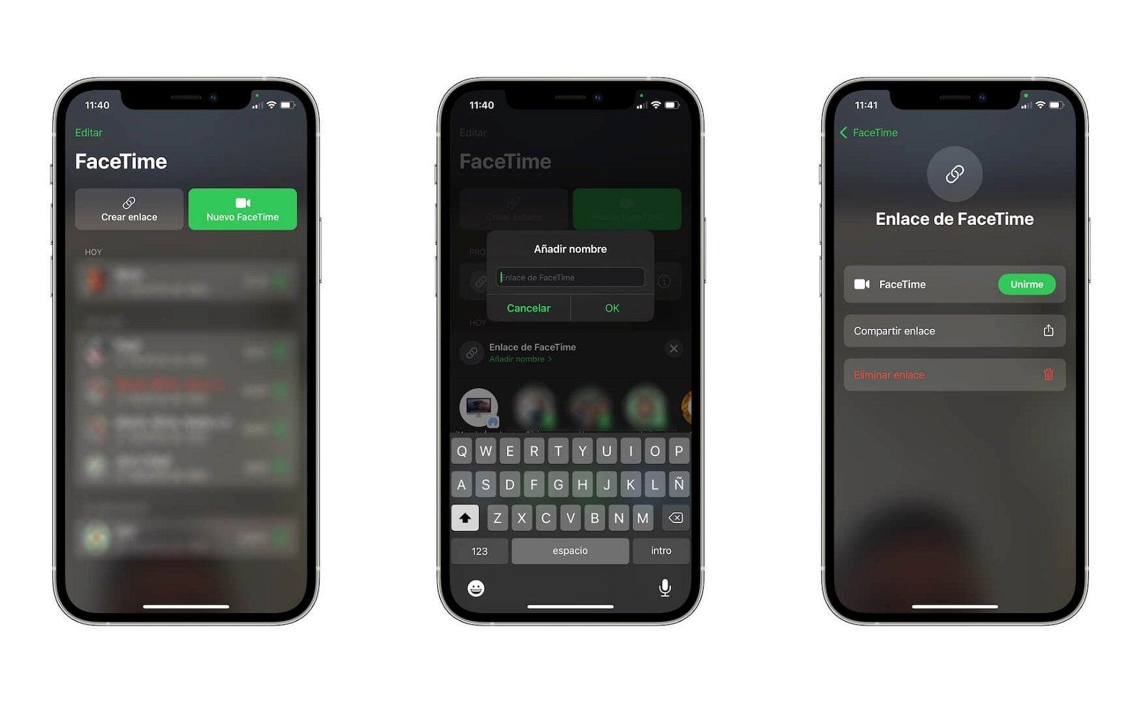 Enlace FaceTime iOS 15