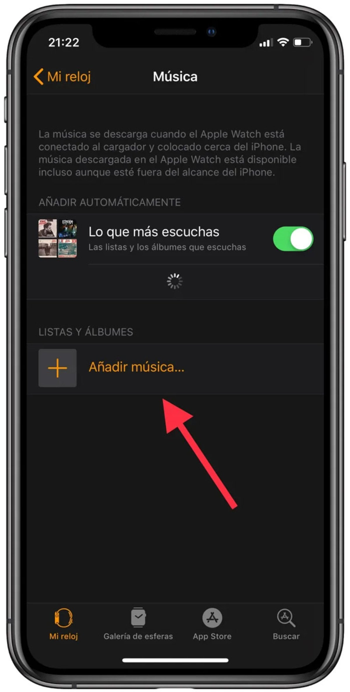 Añadir música en iPhone para Apple Music
