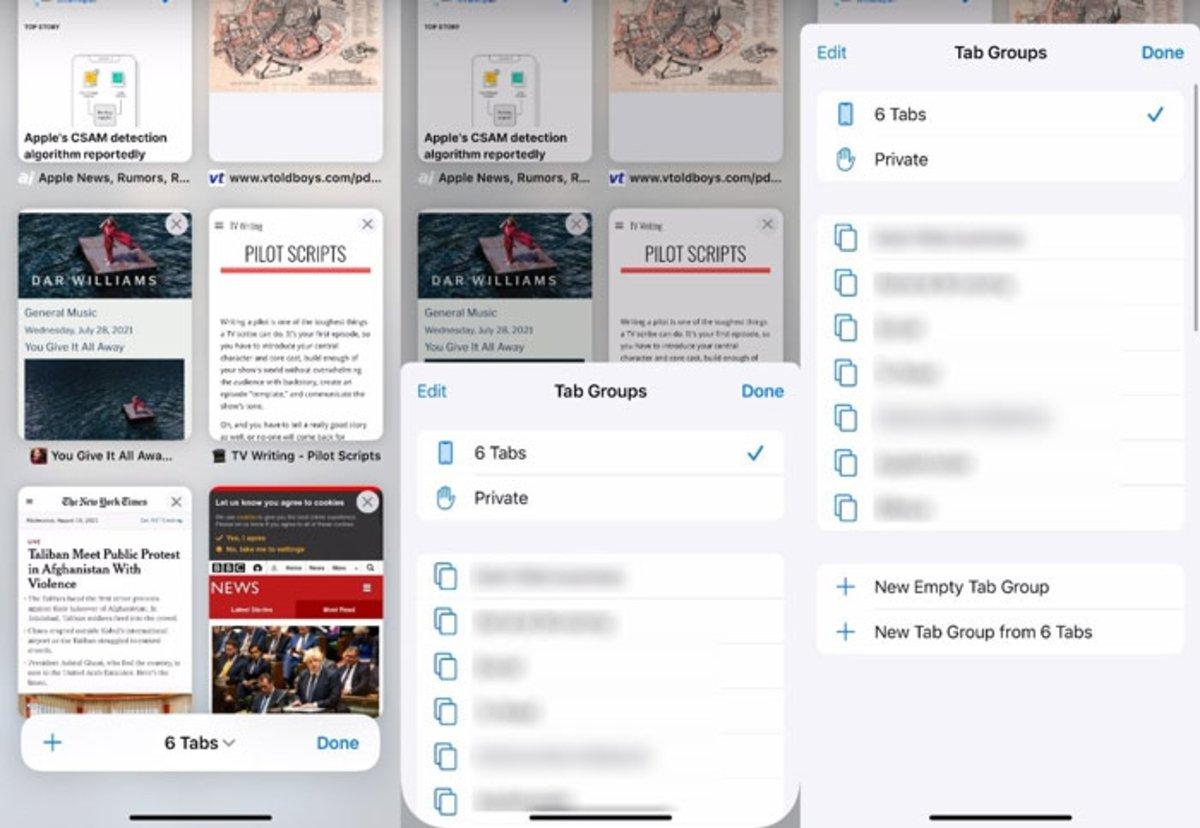Diseño grupo de pestañas Safari iOS 15