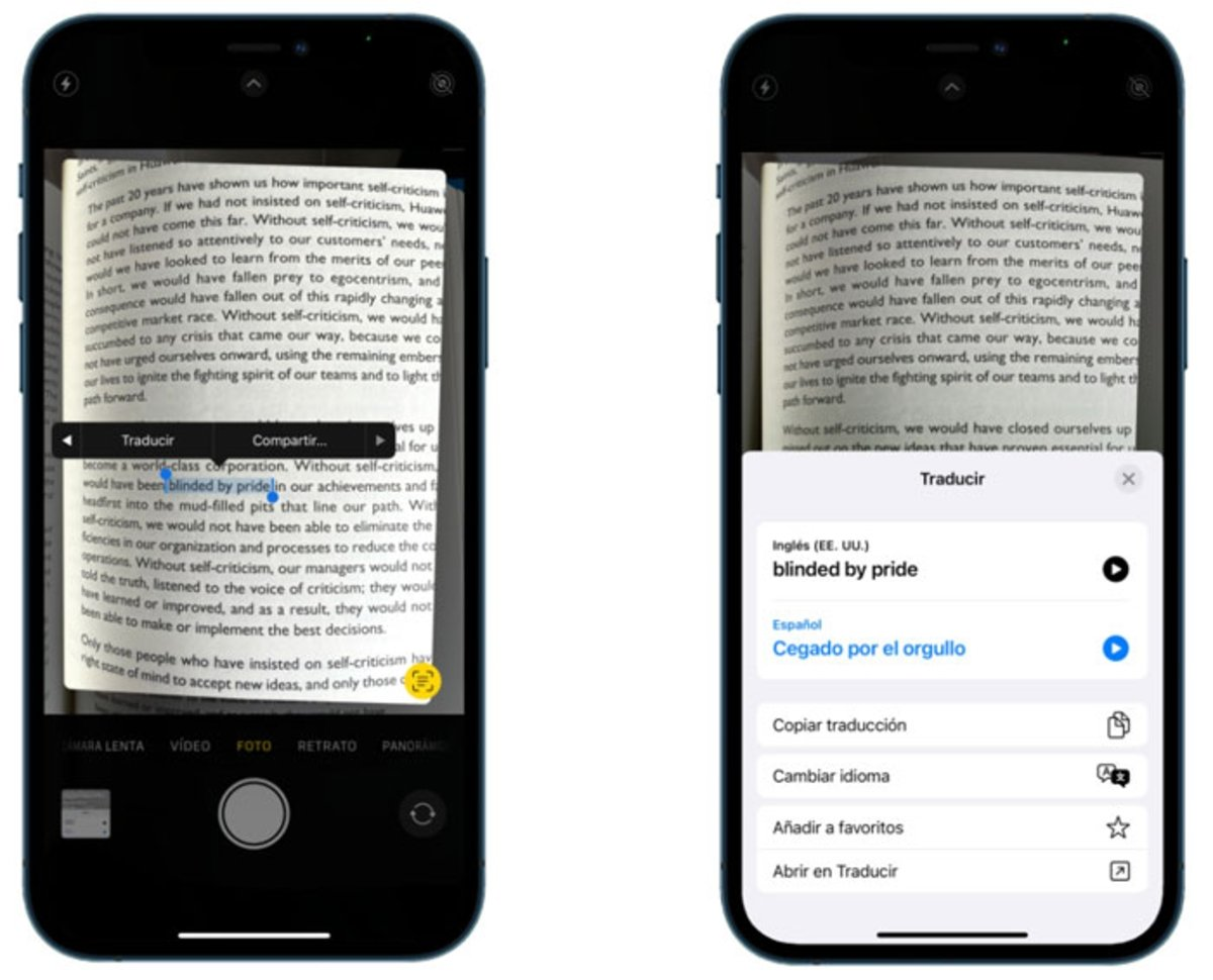 Seleccionar texto Live Text iOS 15