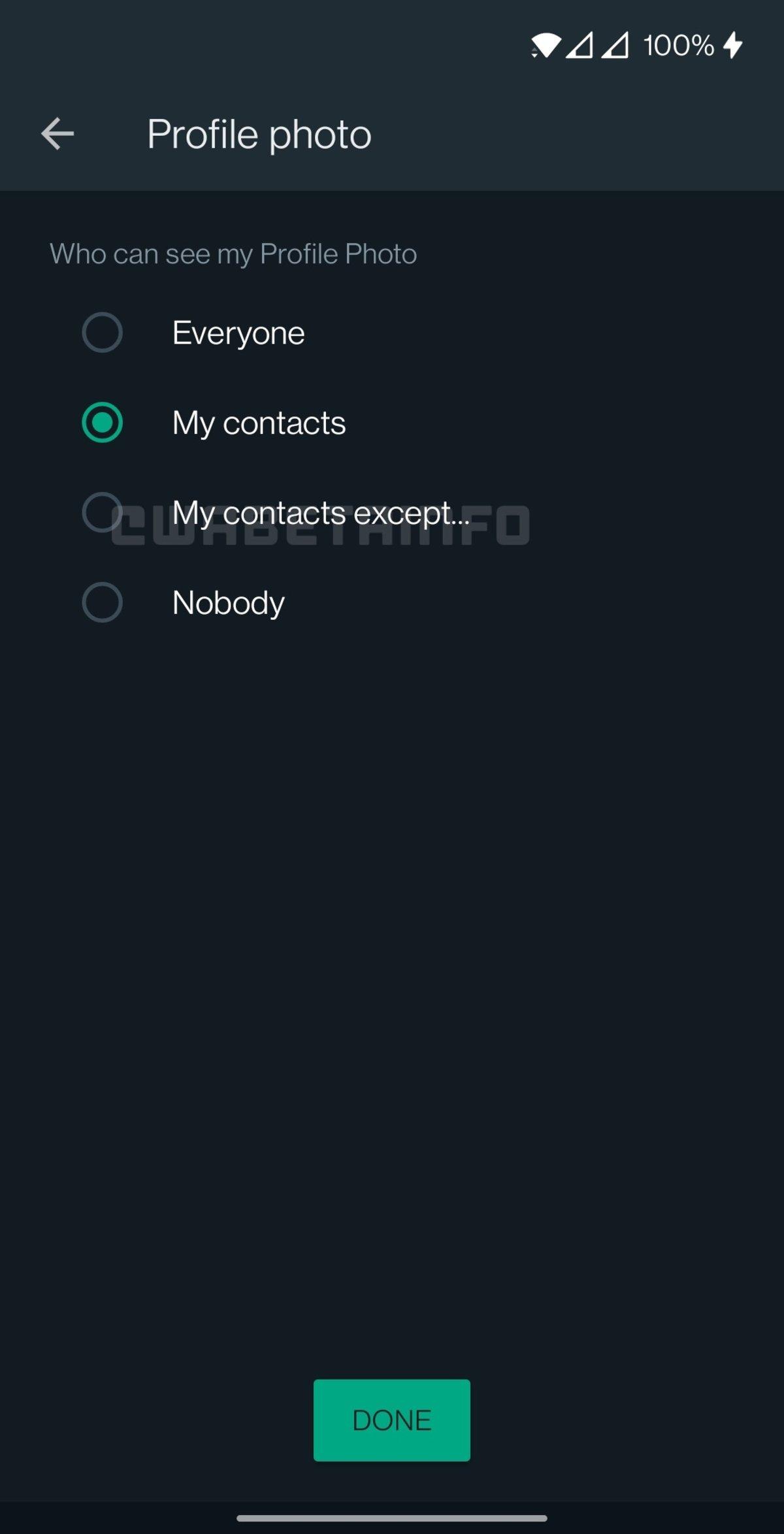 Ajustes de Privacidad para la foto de perfil de WhatsApp