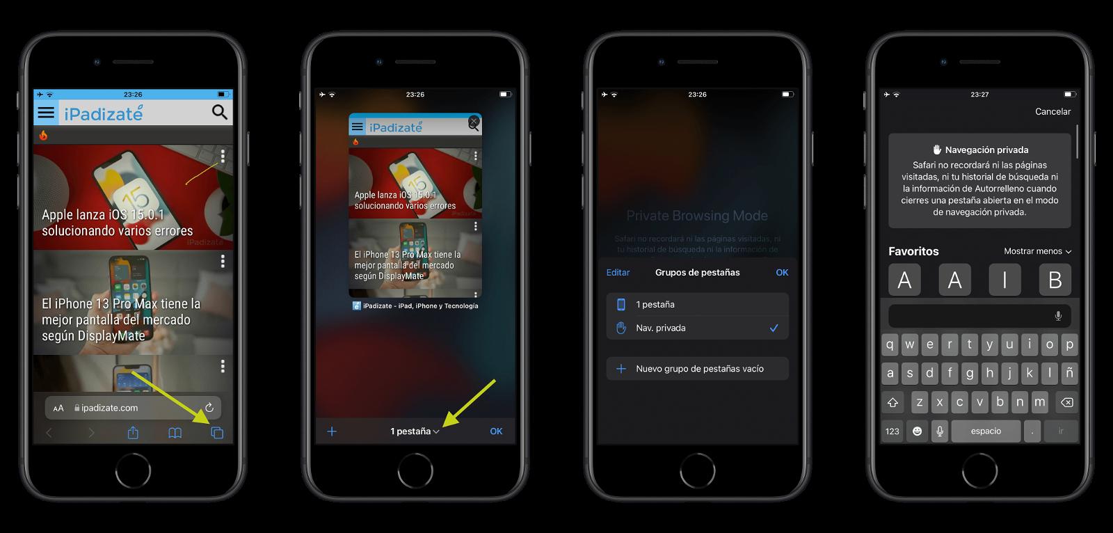 Abrir pestaña privada desde Safari en iOS 15