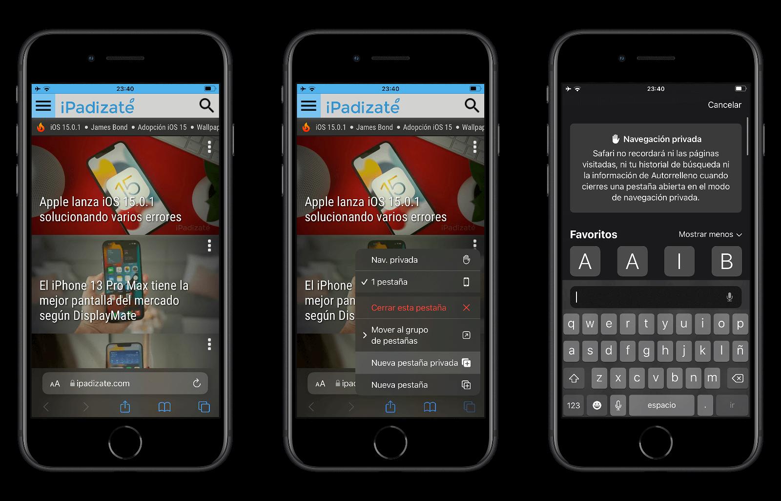 Acceso directo a las pestañas privadas desde Safari en iOS 15