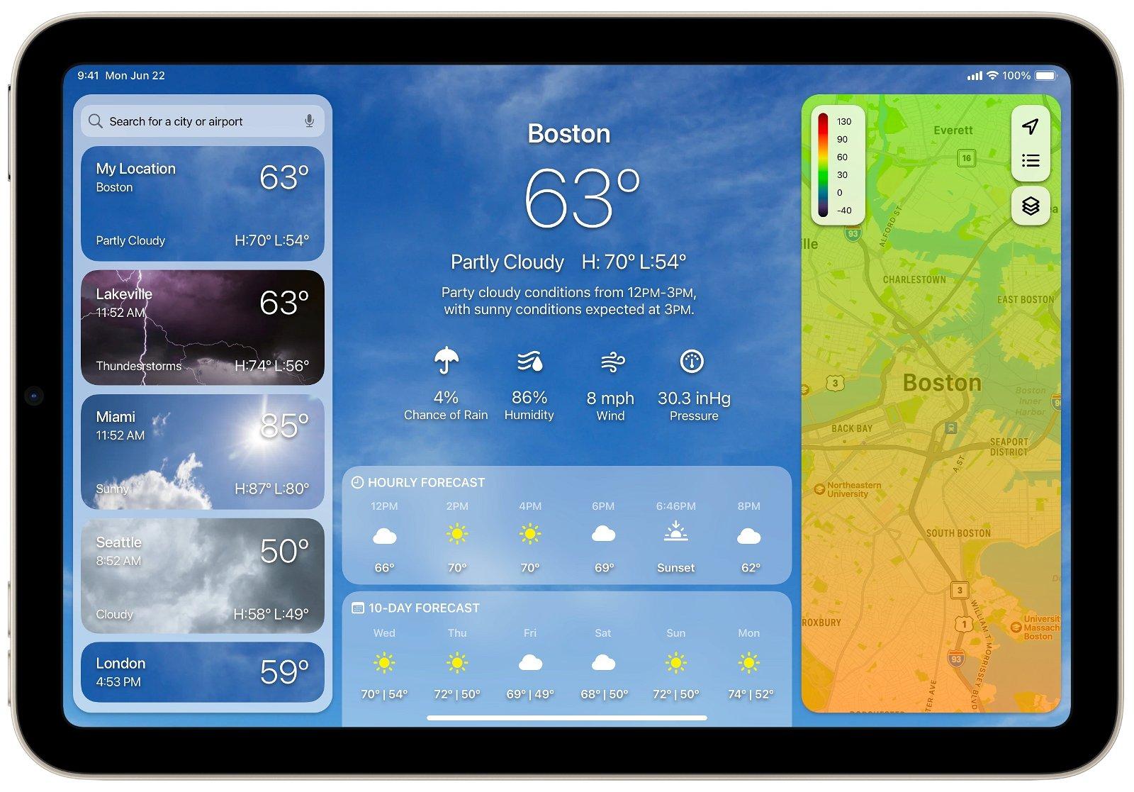 Concepto app tiempo iPad