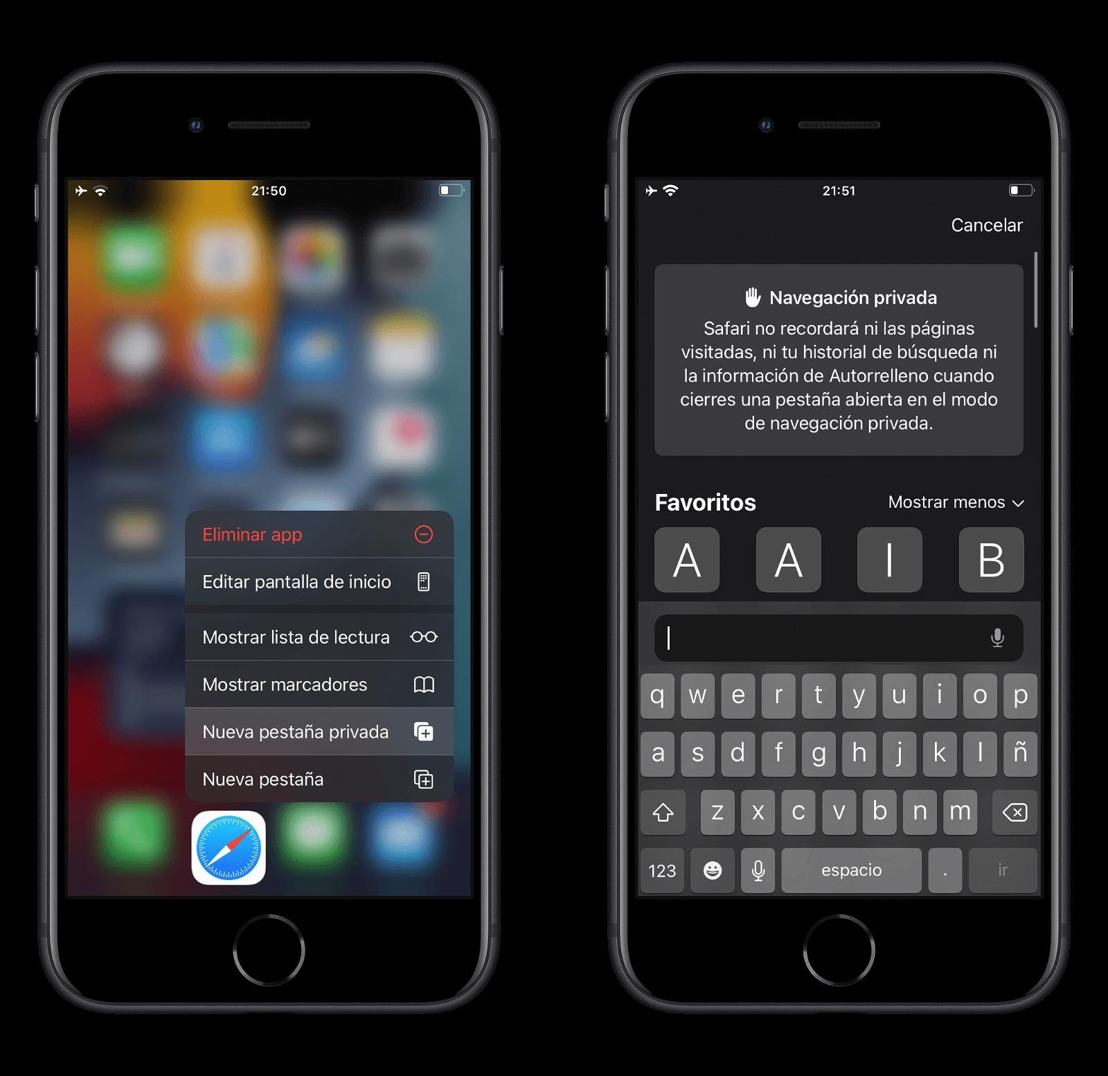 Abrir pestaña privada en Safari desde la pantalla de inicio