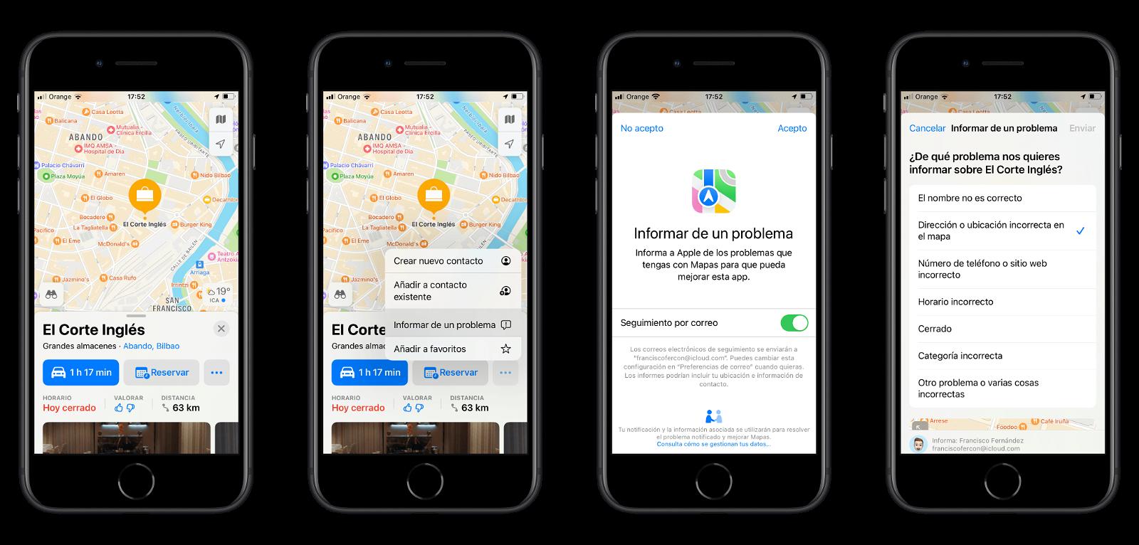 Reportar error en Apple Maps desde iOS o iPadOS