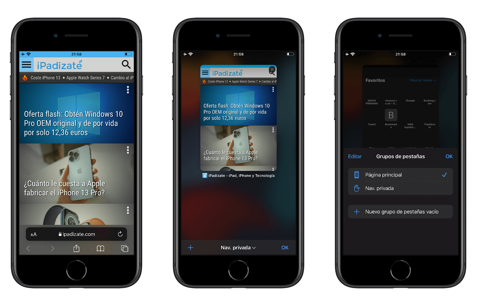 Salir del modo de navegación privada con Safari en iOS 15